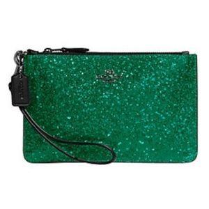 Coach green glitter wristlet